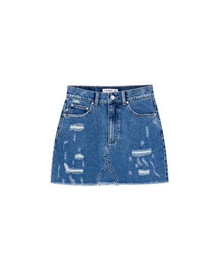 Fitted denim mini skirt with rips