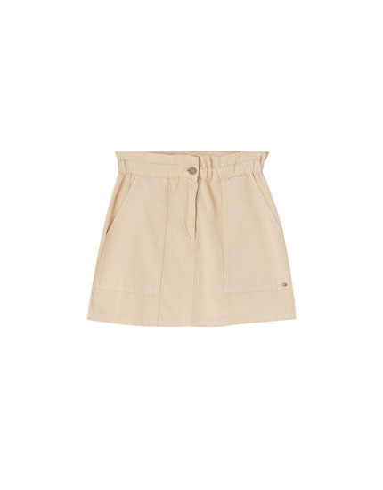 Paperbag mini skirt with pockets