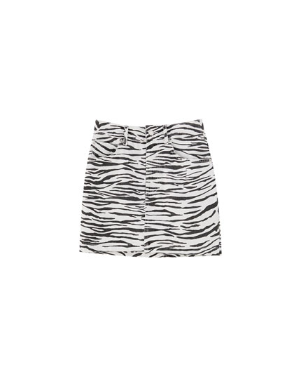 Zebra print denim mini skirt