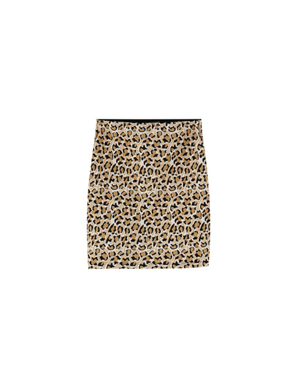 Leopard print mini skirt
