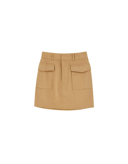Military mini skirt with pockets