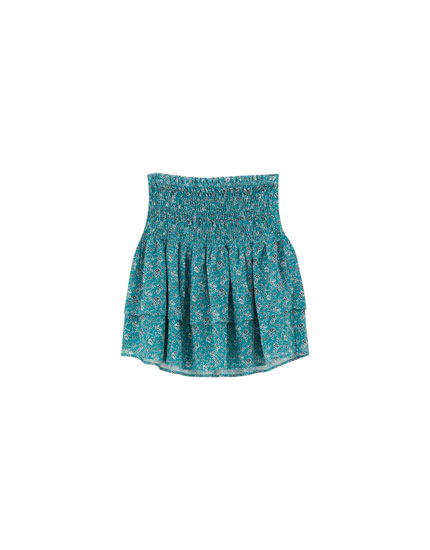 Ruffled mini skirt with smocking