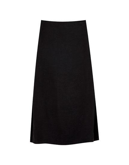 Satin midi skirt with slits