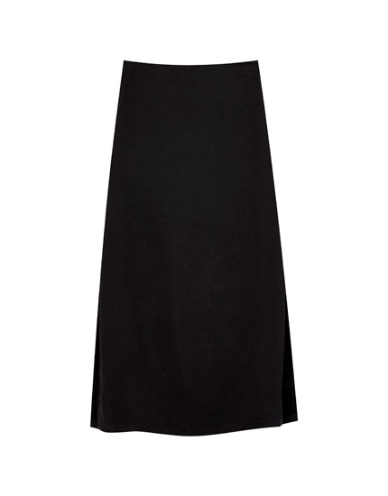 Satin midi skirt with slits