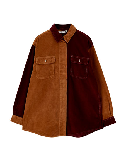 Two-tone corduroy shirt