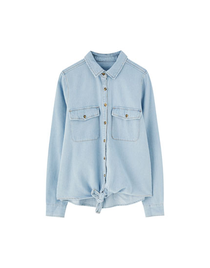 Knotted denim shirt