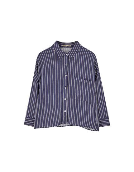 Camisa básica cuadros manga larga