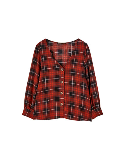 Button-up check V-neck top