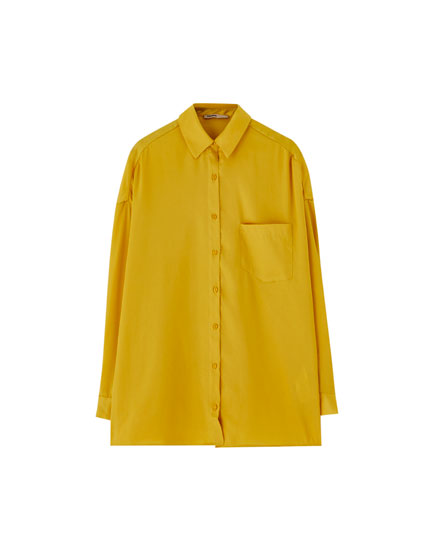 Oversized satin-effect shirt