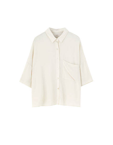'Oversize' stila krekls ar īsām piedurknēm