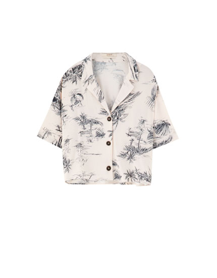 Short sleeve landscape print shirt