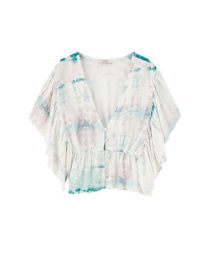 Tie-dye blouse with front ruffles
