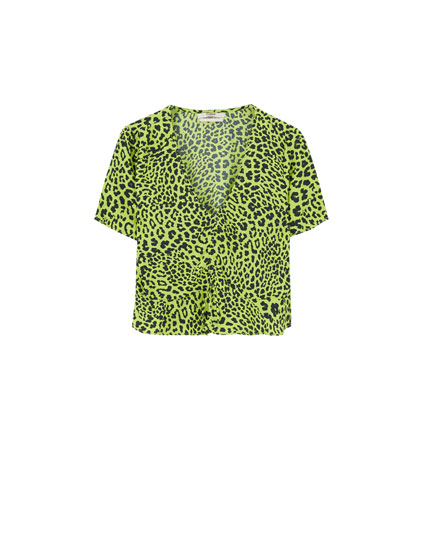 Printed neon blouse with gathering