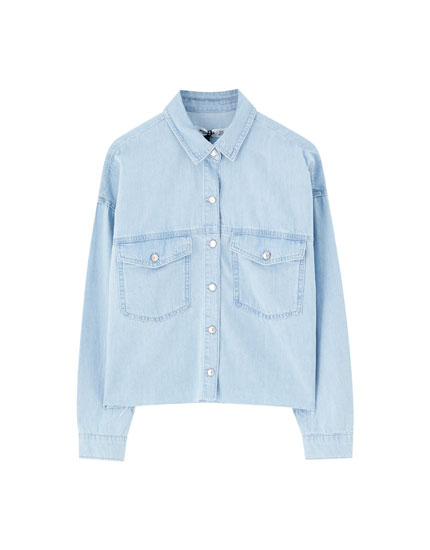 Denim shirt with frayed hem