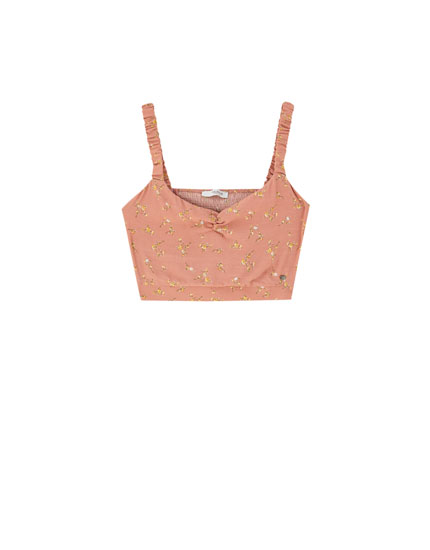 Crop top with straps and small flower design