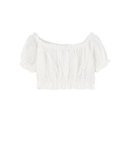 Off-the-shoulder Swiss embroidery top