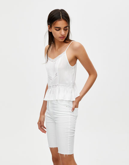 White top with lace trim detail