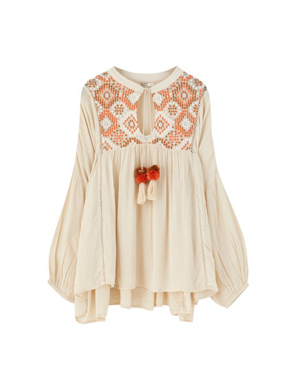 Blouse with embroidered yoke