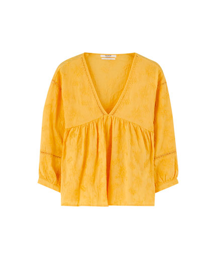 Embroidered yellow blouse
