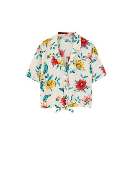 Knotted short sleeve printed shirt