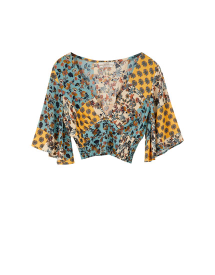 Patchwork 3/4 sleeve blouse