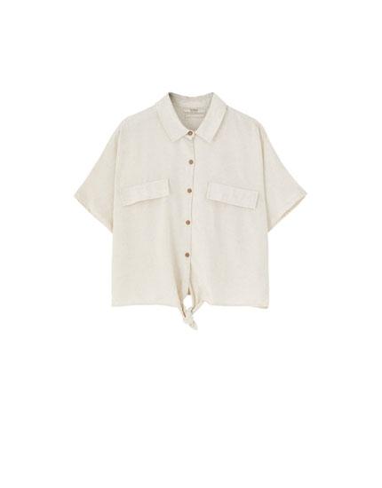 Raupja auduma krekls ar mezglu