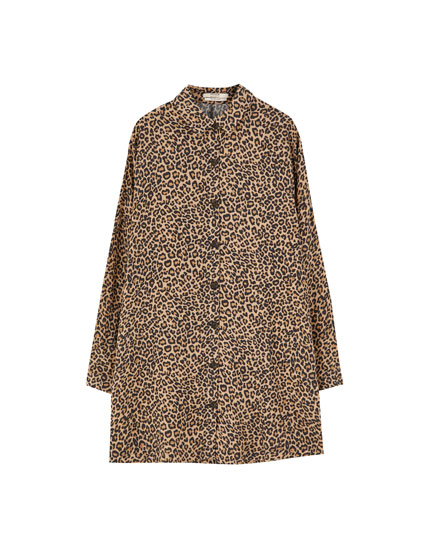 Animal print shirt dress