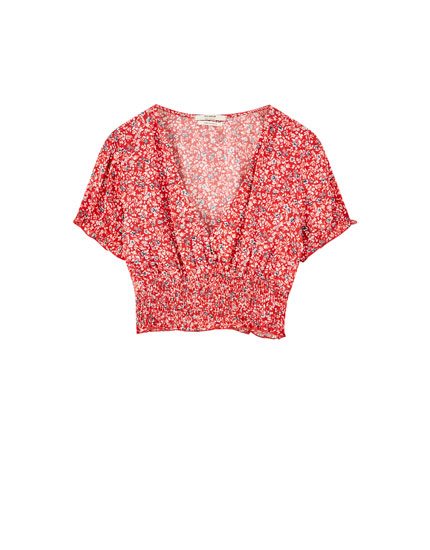 Printed blouse with smocking