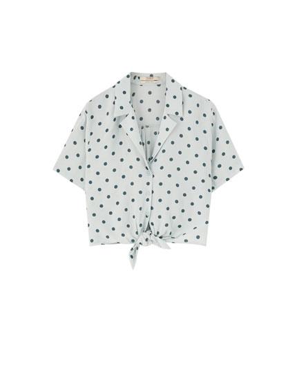 Chemise à pois manches courtes