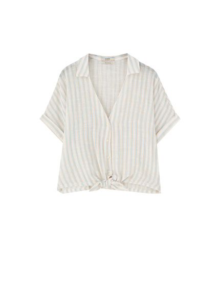 Cropped shirt with rustic stripes