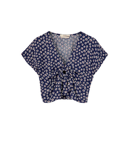 Daisy print cropped shirt