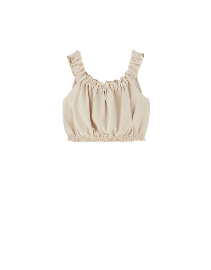 Rustic top with frilled detail