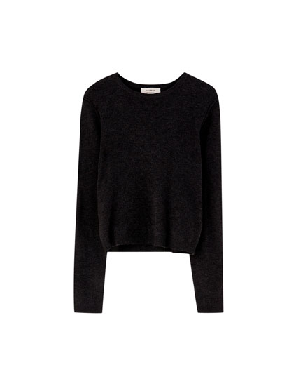 Basic sweater i blød strik