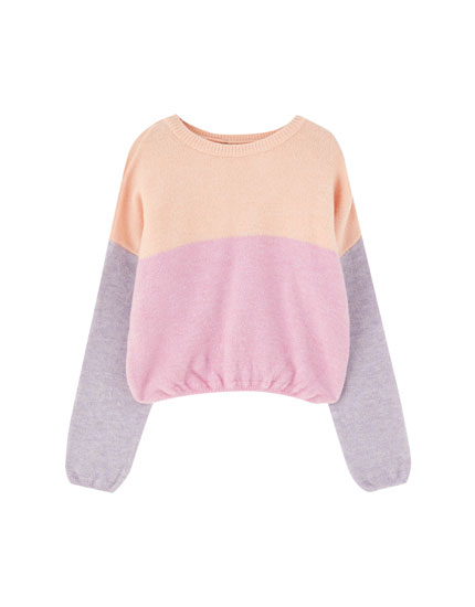 Soft-Touch Pullover mit Colour-Block