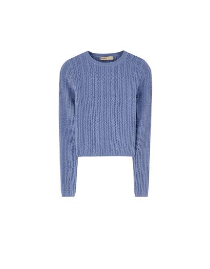 Sweater de malha de cabo com rendilhado