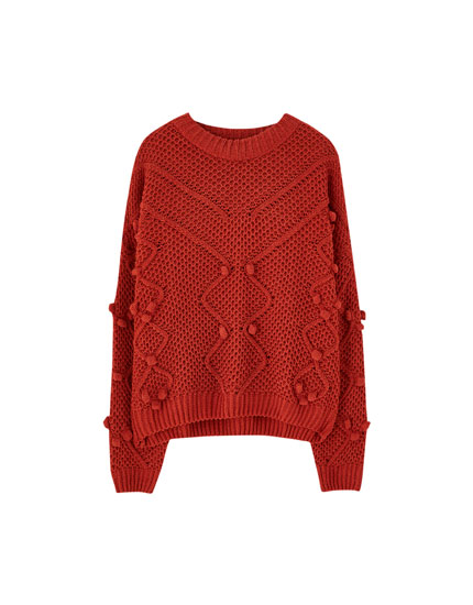 Chenille embroidered ball sweater