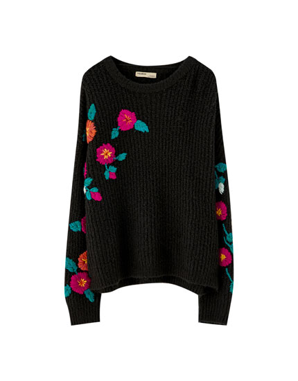 Soft knit floral sweater