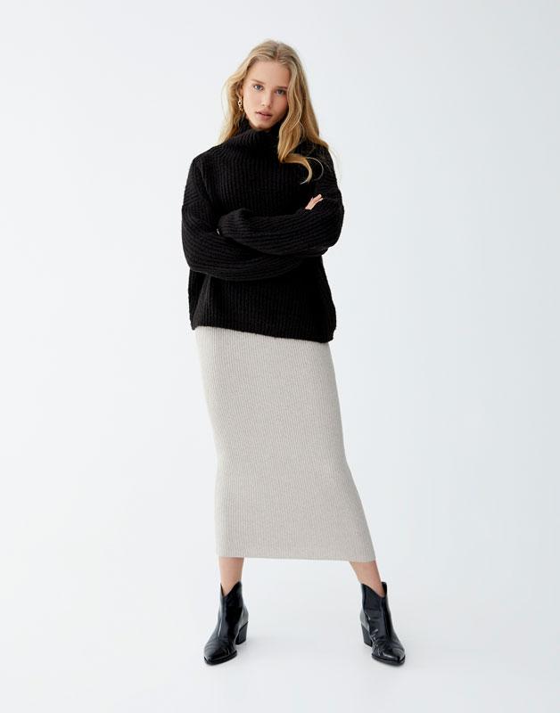 Sweater De Malha De Gola Alta by Pull & Bear