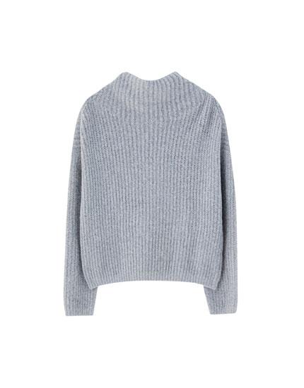 Striksweater med høj hals