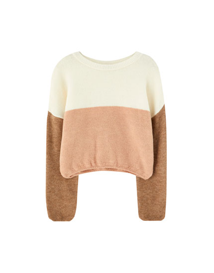 Soft knit colour block sweater