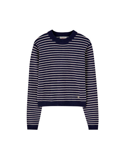 Striped and fitted knit sweater