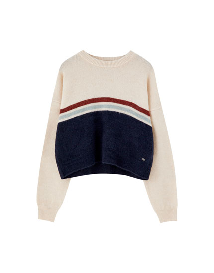 Sweater with panelled chest