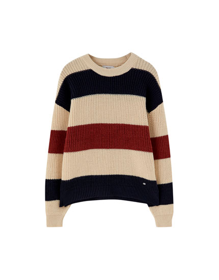 Wide-striped knit sweater