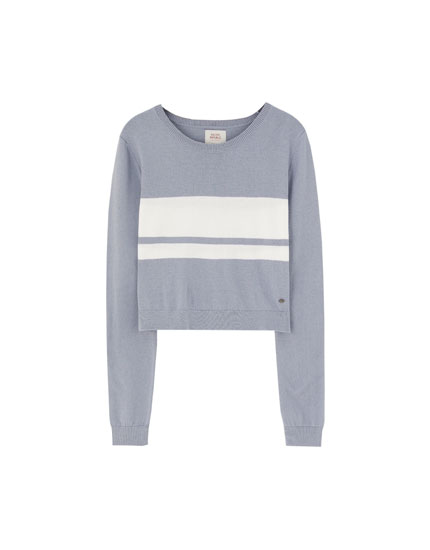 Fitted knit sweater with panel