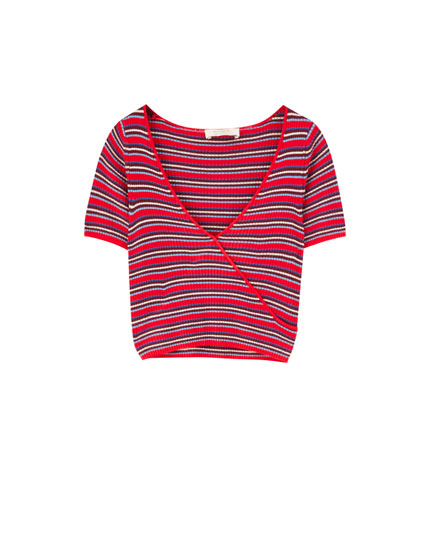 Striped rib knit T-shirt