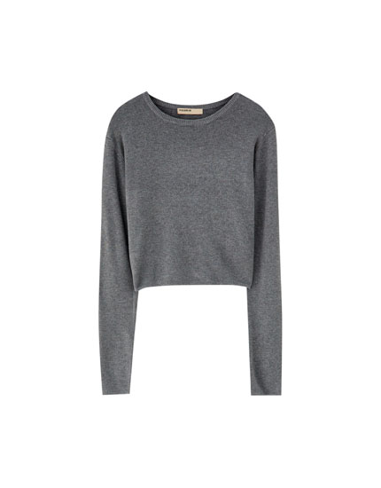 Sweater cropped con franjas