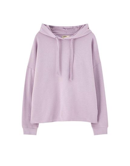 Basic hooded sweatshirt with ribbed trims