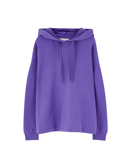 Basic hooded sweatshirt with ribbed trims