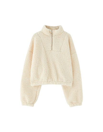Pull&Bear by Rosalía faux shearling sweatshirt