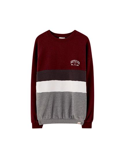 Burgundy panel sweatshirt